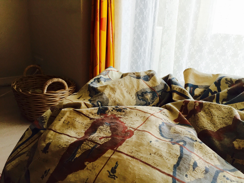 猫が潜り込んだソファ